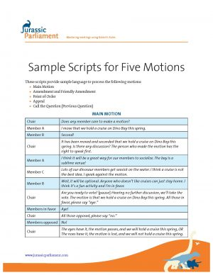 COVER Sample Scripts for 5 Motions