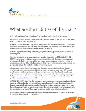 Duties of Chair-Front